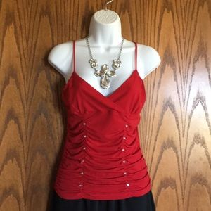 Red rhinestone embellished camisole